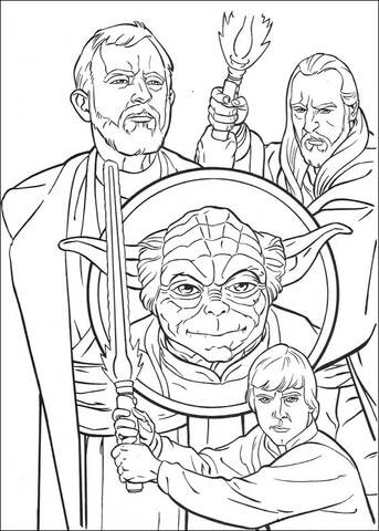 Ausmalbild: Obi-Wan Kenobi, Qui-Gon Jinn, Yoda und Luke