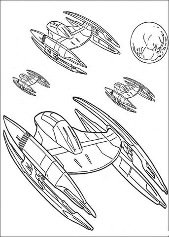 Ausmalbild: Star Wars, Sternfighter der Föderation
