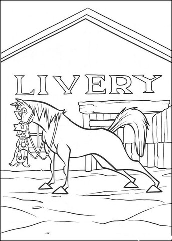 Dibujo de El caballo de pie frente al rancho para colorear