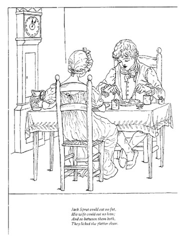 Jack Sprat could eat no fat nursery rhyme coloring page