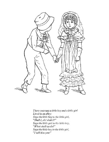 There once was a little boy and a little girl coloring