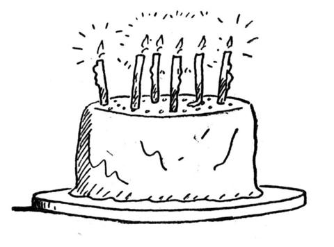Disegno di Torta di compleanno con candeline da colorare