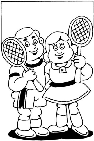 Disegno di Piccoli tennisti da colorare