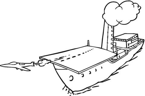 Straaljager stijgt op van vliegdekschip kleurplaat