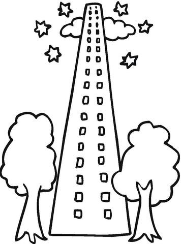 Ausmalbild: Wolkenkratzer mit zwei Bäumen davor
