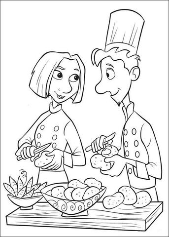 Ausmalbild: Linguini und Colette schälen Kartoffeln