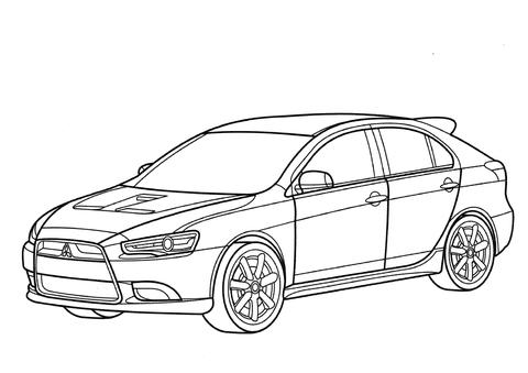 Dibujo de Mitsubishi Lancer Sportback para colorear