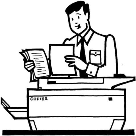 Kolorowanka Pracownik biurowy robi kopie używając ksero