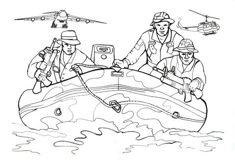 Ausmalbild: Marinesoldaten in einem Schlauchboot