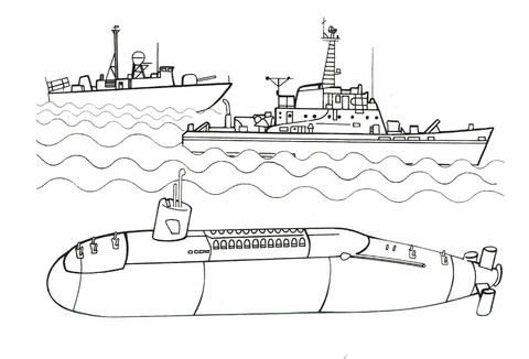 Ausmalbild: U-Boot ist bereit für das Schlachtschiff auf
