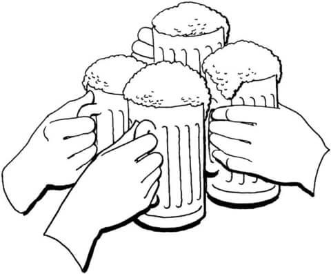 Ausmalbild: Oktoberfest, der Feiertag des Bieres