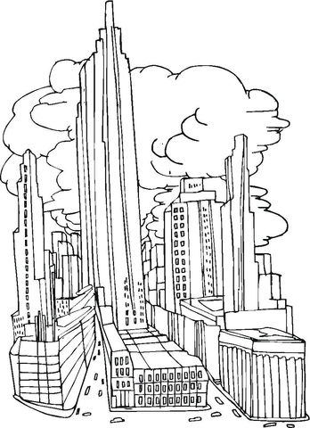 New York City Before September 11, 2001 coloring page