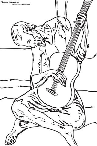 Dibujo de El viejo guitarrista ciego, De Pablo Picasso