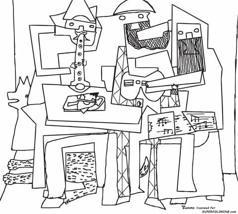 Dibujo de Tres Músicos, De Pablo Picasso para colorear