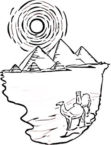 Disegno di Piramidi e cammelli dell'Egitto da colorare