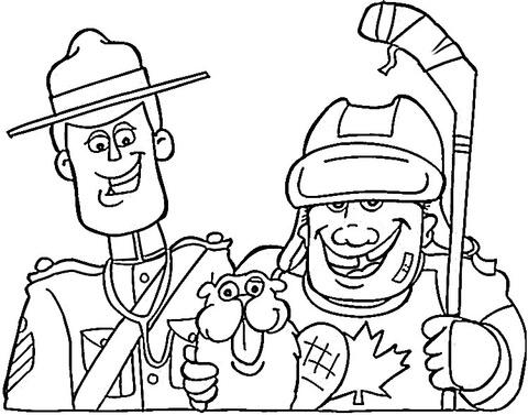 Canadian symbols: mounted police, beaver and hockey