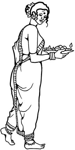 Disegno di Vestiti femminili tradizionali dell'India da