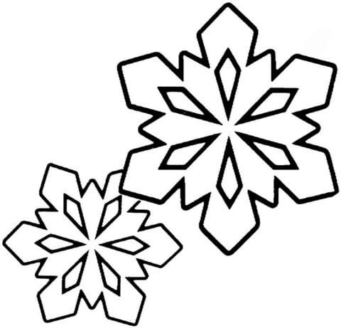 Dibujo de Dos Pequeños Copos de Nieve para colorear