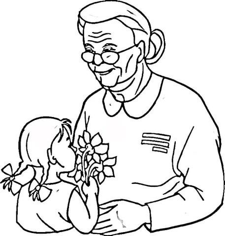 Desenho de Dia dis Veteranos para vovó para colorir