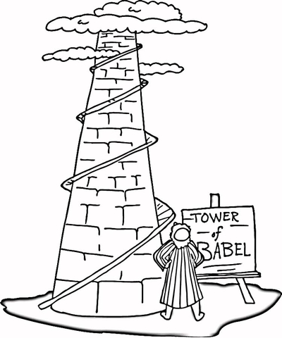 tower of babel coloring page # 1