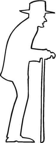 Ausmalbild Mann mit Gehstock Umriss Ausmalbilder