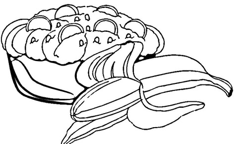 Banana Split Bowl Pages Coloring Pages