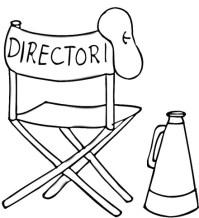 Dibujo de Boina, silla plegable y megfono de Director de