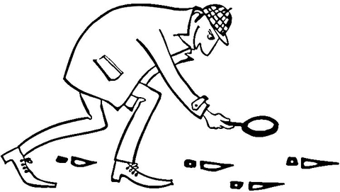 Ausmalbild: Sherlock Holmes folgt Fußabdrücken
