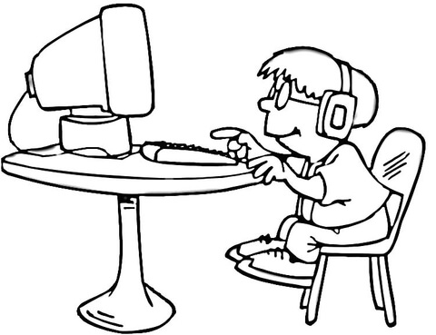 A little boy is playing on the computer coloring page