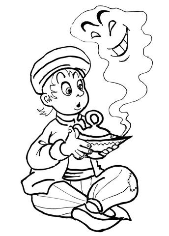 Ausmalbild: Der kleine Aladdin und der Flaschengeist