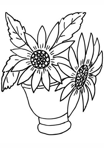 Disegno di Vaso di girasoli da colorare
