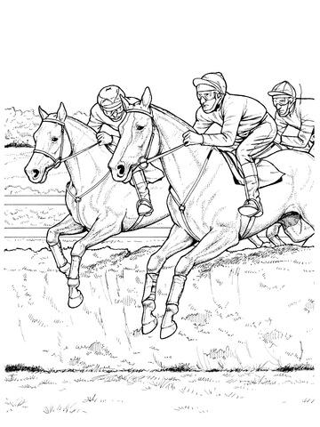 Ausmalbild: Pferde überspringen ein Hindernis