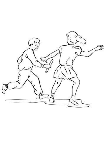 Dibujo De Corriendo Carrera De Relevos Para Colorear