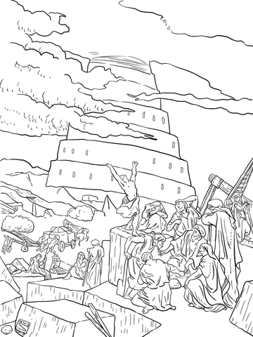 tower of babel coloring page # 12