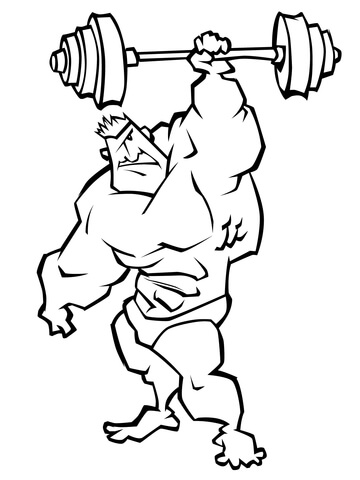 Dibujo de Caricatura de un hombre levantando pesas para