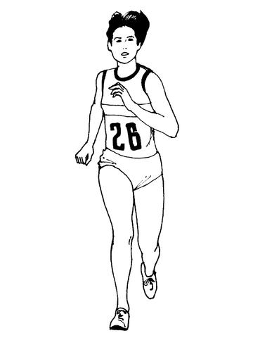 Dibujo de Mujer Corriendo una Maratón para colorear