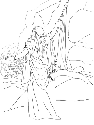 Moses Strikes the Rock and Water Comes out coloring page