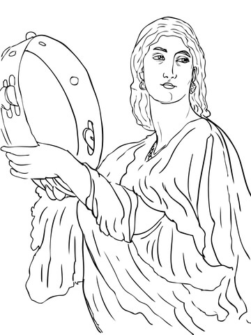 Miriam Celebrates the Crossing of Red Sea coloring page