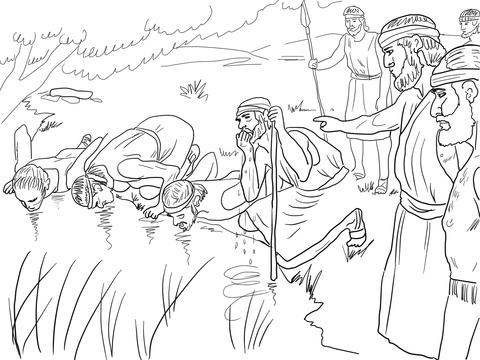 Dibujo de Gedeón selecciona a su ejército de 300 para