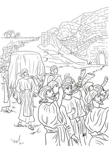 Dibujo de Josué y la caída de Jericó para colorear