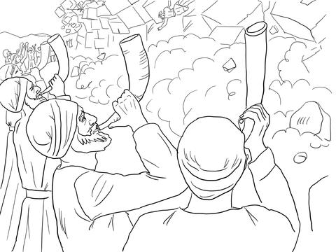 Dibujo de Los muros de Jericó cayendo para colorear