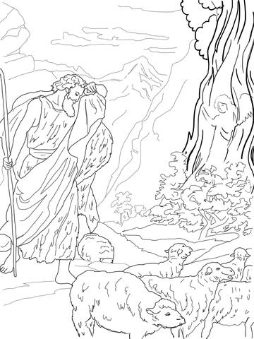 Kolorowanka Bóg przemawia do Mojżesza przez gorejący krzew