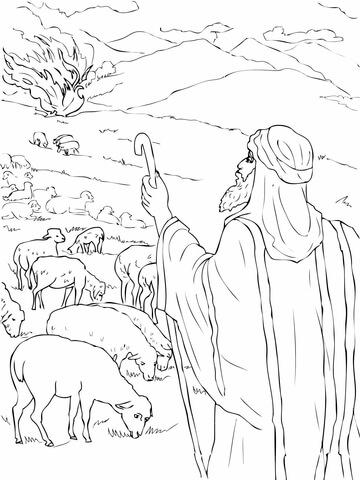 Dibujo de Moisés ve la zarza ardiendo para colorear