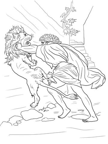 Dibujo de Sansón se enfrenta a un león para colorear