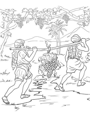 Ausmalbild: Josua und Kaleb kehren nach Kanaan zurück
