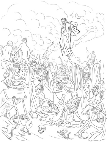 Ezekiel's Vision of the Valley of Dry Bones coloring page
