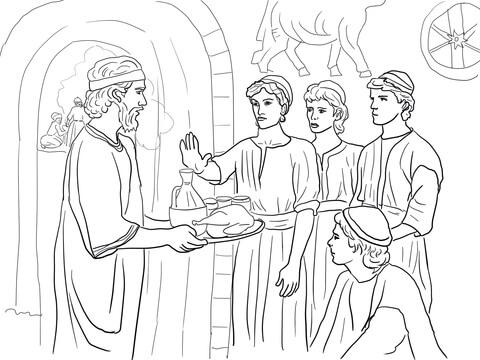 Dibujo de Daniel elige bien y rechaza los alimentos del