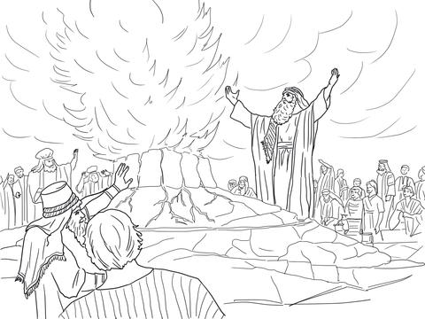 Ausmalbild: Elia betet Feuer vom Himmel herab
