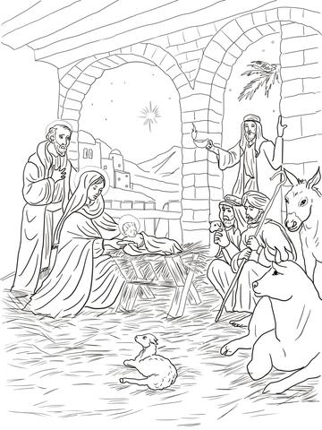 Ausmalbild: Die Hirten kommen, um das Kind zu sehen