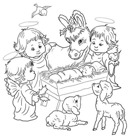 Dibujo de Escena de la Natividad con Ángeles y Animales
